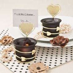 Heart/Love Candle Votive Holder w/Placecard/Photo Holder- These exotic satin black and gold votives will add a magnificent ambiance to your romantic occasion. Use them as placecard holders and offer them as favors to friends and family. Winter Wedding Favors, Candle Wedding Favors, Candle Favors, Wedding Favors Cheap, Personalized Wedding Favors, Wedding Ideas, Wedding Reception, Wedding Inspiration, Votive Candle Holders