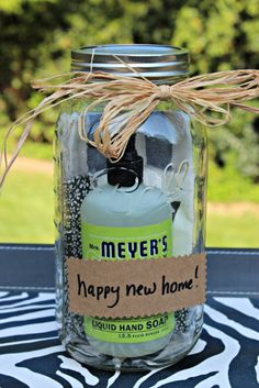 DIY Housewarming Gifts - Mason Jar Housewarming Gift- Best Do It Yourself Gift Ideas for Friends With A New House, Home or Apartment - Creative, Cheap and Quick Crafts and DIY Ideas for Housewarming Presents - Mason Jar Gifts, Baskets, Gifts for Women and Men http://diyjoy.com/diy-housewarming-gifts