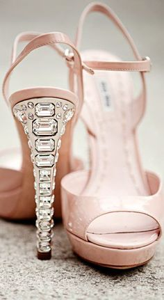 Miu Miu ● pink sandals with crystal heel