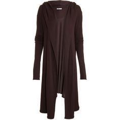 T by Alexander Wang Hooded Cardigan - Brown size Extra Small ($79) ❤ liked on Polyvore featuring tops, cardigans, clothing & accessories, jackets, outerwear, women, red top, drapey cardigan, jersey cardigan and drape top