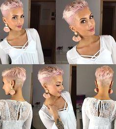 85 New Best Pixie Cut Ideas for 2019 - Love this Hair - kurzhaarfrisuren Short Pixie Haircuts, Pixie Hairstyles, Summer Haircuts, Prom Hairstyles, Undercut Pixie Haircut, Fashion Hairstyles, Blonde Pixie Cuts, Super Short Hair, Short Hair Cuts For Women