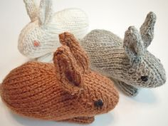 These little guys will hop right off your needles in no time at all. Knit in the round, they are made entirely in one piece except for the legs, which are seamed to the bottom.