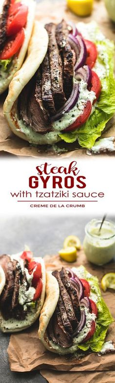 Easy and tasty flank steak gyros with tzatziki cucumber sauce are bursting with hearty flavor. A simple marinade and quick-sear yields super juicy and flavorful beef for the best homemade gyros! | lecremedelacrumb.com