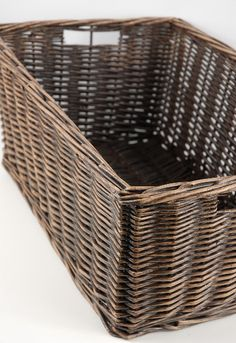 "Bread basket for above the fridge? Brown Wicker Rectangle 18x12 Basket $29 (sides 7.5"" tall)"