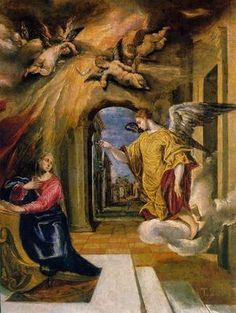 Gabriel making the Annunciation to the Virgin Mary. Painting by El Greco, 1575 (Museo del Prado, Madrid). Real Angels, Angels Among Us, Spanish Painters, Spanish Artists, Renaissance Kunst, Les Religions, Guardian Angels, Christian Art, Religious Art