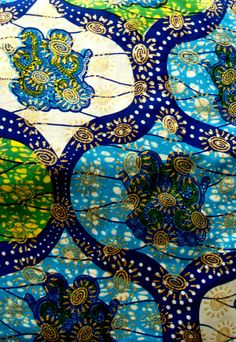 African Wax Cotton Print Fabric - African wax print turquoise, blue, green & gold embellished, glittery Fabric - Ankara Fabric - Half Yard