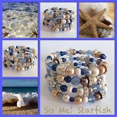 Starfish! Moderne, mooie zelfgemaakte armbanden, glas parels, glas kralen , Memory wire, http://some-accessoires.nl