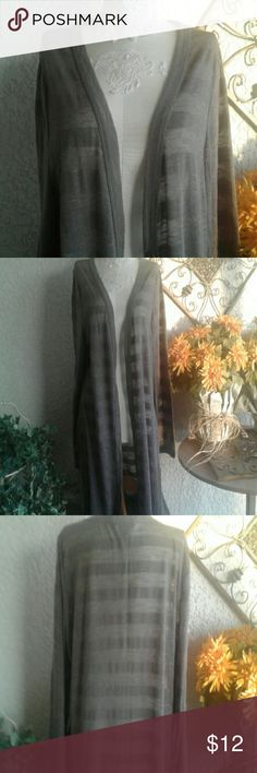 Delirious Brown Long Cardigan Long brown buttonless cardigan, semi transparent, horizontal stripes. Size 3X. Delirious Sweaters Cardigans