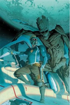 Guardians Of The Galaxy - Star-Lord and Groot by Esad Ribic * Marvel Vs, Marvel Comics Art, Marvel Heroes, Marvel Characters, Avengers Comics, Comic Book Artists, Comic Books Art, Comic Art, Gardians Of The Galaxy