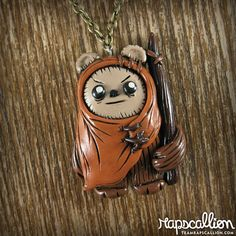 Ewok Polymer Clay Necklace por rapscalliondesign en Etsy