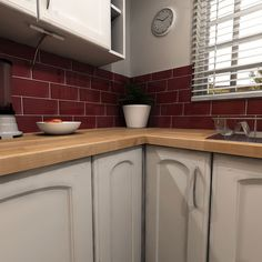 red metro tiles kitchen - Google Search