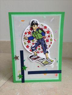 Jongens verjaardagskaart met skateboard! Boys birthday card with a skateboard! DIY