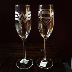""" ・・・ We love this champagne glass set! Superman Wedding, Marvel Wedding, Fall Wedding, Our Wedding, Dream Wedding, Wedding Themes, Wedding Stuff, Wedding Ideas, Superman Wonder Woman"