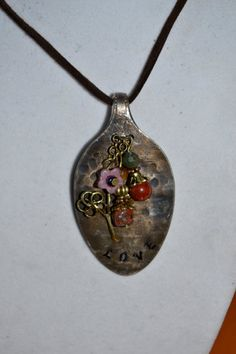 Hammered Spoon Pendant with Jasper Beads and by SimplyChina, $20.00