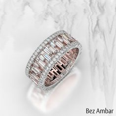 Ambar: Custom Engagement Rings and Fine Jewelry A beautiful baguette diamond wedding band with Pavé Edges.A beautiful baguette diamond wedding band with Pavé Edges. Baguette Diamond Wedding Band, Baguette Ring, Diamond Engagement Rings, Halo Engagement, Wedding Band Ring, Baguette Eternity Band, Baguette Diamond Rings, Engagement Jewelry, Eternity Ring