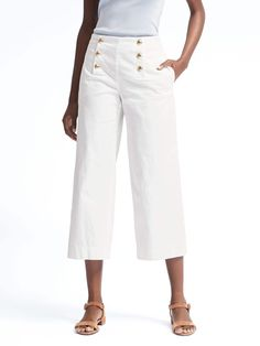 Blake-Fit Wide-Leg Sateen Crop Sailor Pant | Banana Republic