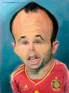 Caricatura de Andrés Iniesta.