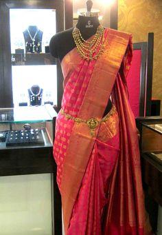 Pure handloom Kanchivaram silk saree in fuscia pink tone on display @ Sakhi's showcase +91 9900033636 / contact@SakhiFashions.com https://www.facebook.com/SakhiFashions