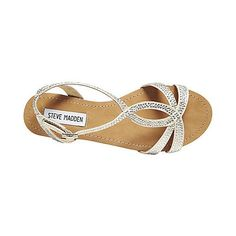 I think I've pinned these before, but I love them... And would love to have a pair!!! STARRZ SILVER MULTI women's sandal flat t-strap - Steve Madden