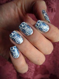 Stamping Nail Art by Net.Ek: Gzhel on nails ...