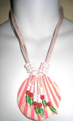Necklace Pink beaded stripe shell.