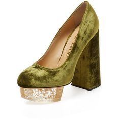 Charlotte Olympia Women's Alix Platform Pump - Green, Size 39 ($349) ❤ liked on Polyvore featuring shoes, pumps, green, green pumps, block heel platform shoes, high heeled footwear, platform shoes and green platform shoes