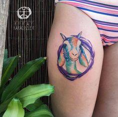 Watercolor goat by Koray Karagozler