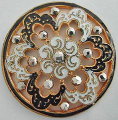"""Antique pierced enamel button with cut steel.       ••••(KO) I like to see lots of little cut """"steels"""" on a button. Sparkles!"""
