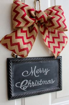 Christmas Wreath Alternative CHALKBOARD Metal Sign Hanging Burlap Bow Classic Red Chevron ribbon Blackboard - Write your own custom greeting...  www.chalkitupdecor.com  #chalkitupdecor #christmasdoor #christmasdecorating