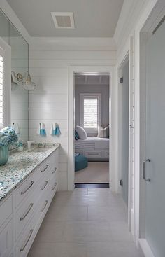 Florida Beach House with New Coastal Design Ideas. Love this countertop!