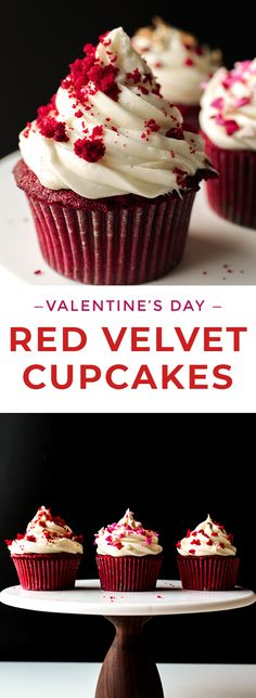 These Red Velvet Cupcakes with Cream Cheese frosting are moist, delicious, and super easy! Decorate them with sprinkles for a quick Valentine's Day dessert or for Christmas! | Posted By: DebbieNet.com