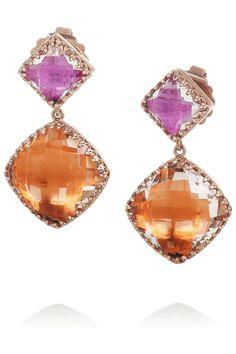 Larkspur & Hawk|Marly 22-karat rose gold-dipped topaz earrings