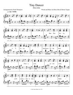 Tiny Dancer sheet music composed by Words and Music by Elton John & Bernie Taupin – 1 of 10 pages Guitar Sheet, Piano Sheet Music, Music Games, Music Songs, Free Sheet Music, Tiny Dancer, Funny Tumblr Posts, Original Music, Music Lessons