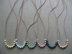 Small ceramic bead necklaces. I will take one of each! - Black Eiffel