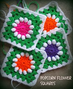 Popcorn Flower Square:   Baby Groovyghan CAL(7)...free pattern!..Thanks so for sharing!