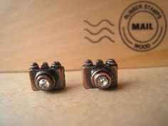 Camera Earrings Studs Copper Color by Bitsofbling on Etsy. $3.50 !