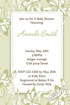 Flower Floral Frame Baby Shower Invitations - Get these invitations RIGHT NOW. Design yourself online, download and print IMMEDIATELY! Or choose my printing services. No software download is required. Free to try!