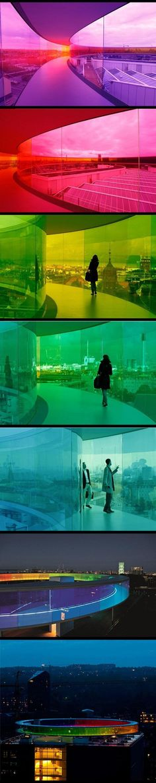 Danish art museum ARoS Aarhus Kuntsmuseum, by Danish-Icelandic artist Olafur Eliasson