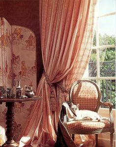 ♥ toile, plaid, prints and checkered fabrics with lots of sunlight and silver accents . . . and lovely dreamsicle shades...