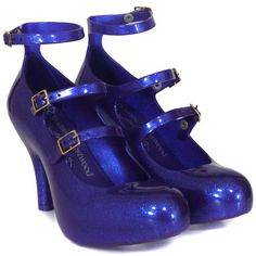 Vivienne Westwood - Shoes Three Strap Elevated Blue Glitter Shoes (£63) ❤ liked on Polyvore featuring shoes, pumps, heels, blue, melissa, scarpe, women, blue shoes, blue high heel shoes and gladiator pumps