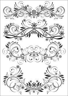 Set of vintage patterns stock vector. Illustration of graphic – 3801492 Set of vintage patterns. Black and white set of Stencil Patterns, Stencil Designs, Embroidery Patterns, Flower Tattoo Designs, Flower Designs, Rosemaling Pattern, Muster Tattoos, Wood Burning Patterns, Lettering Styles
