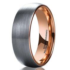 e9e7f32f434 Amazon.com  Mens Wedding Band Rare Brown Tungsten Ring Inside Rose Gold  Step Edge Comfort Fit  Jewelry
