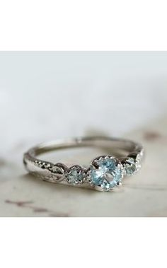 Simple  Classic Blue Topaz Sterling Silver Dainty Ring for Women