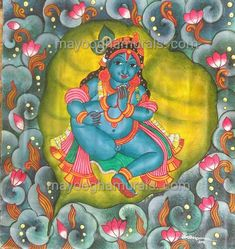 Mayoogha Mural Painting arts gallery is online art gallery-Guruvayoor is an innovative initiative by Mural artist Sastrasarman Prasad. Mural Art, Murals, Little Krishna, Kerala Mural Painting, Basic Embroidery Stitches, Krishna Painting, Outline Drawings, Gods And Goddesses, Indian Art