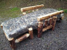 Aspen Log Futon Chair and Ottoman - Sample folded down to make a single bed.. (814) 257-8911 or facebook at Old Farm Amish Furniture for a complete line of rustic log amish made furniture in aspen, sassafras, hickory, peeled pine, cedar and more :)