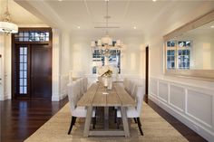 Delray Beach, FL home. Gorgeous dining room space especially with the rustic table! Great idea to design or remodel your dining room.