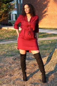 Spreading some holiday cheer with this fierce look from my faves @marshalls and @paylessinsider #phoenixstyle  http://www.phoenixraine411.com/6xtlw6x3jv0q01947f9fwk8puel3lo/zip-front-shirt-dress-thigh-high-boots