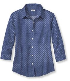 #LLBean: Wrinkle-Free Pinpoint Oxford Shirt, Three-Quarter Sleeve Dot