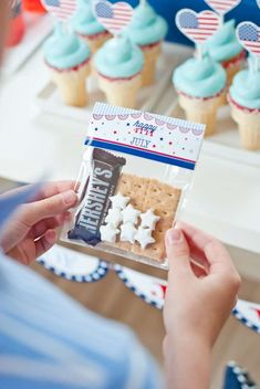 S'mores favors at an American 4th of July party! See more party ideas at CatchMyParty.com!