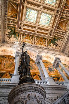 Looking Up, Library of Congress, Jefferson Building. Washington D.C. Photo: Mark S Weaver via Flickr